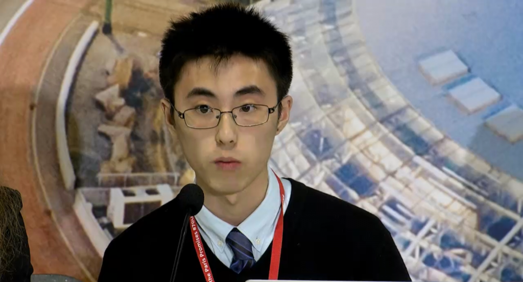 MIE student Zhenglin Liu delivers speech at UN climate change conference