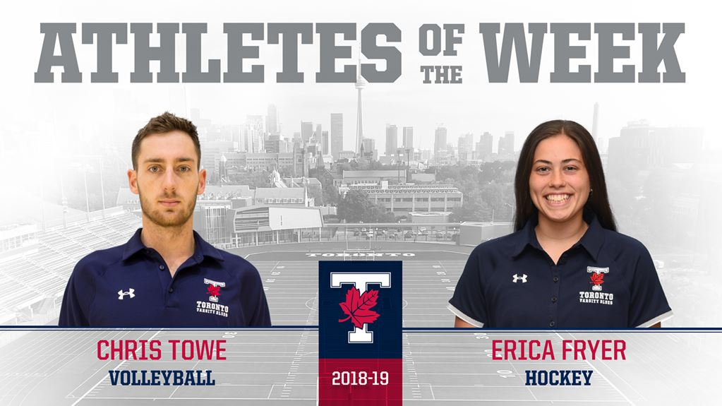Volleyball player and mechanical engineering student Chris Towe was named one of U of T's Athletes of the Week, Varsity Blues news