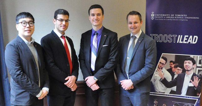 Mechanical engineering students Mark Chaboryk, Tareq Deaibes and Nikola Kostic win Clarke Prize for Capstone design project (U of T Engineering News)