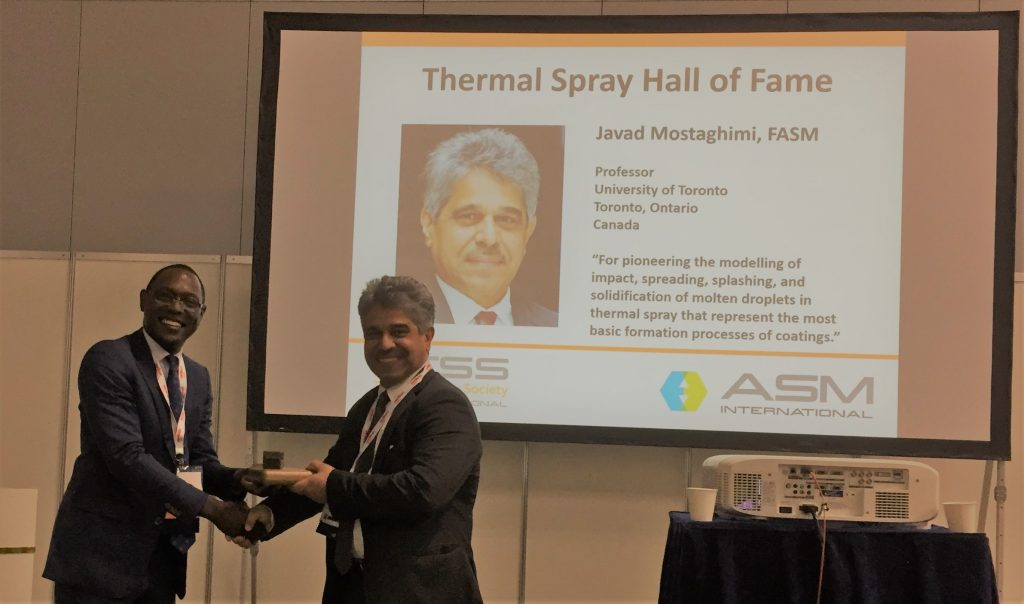 Professor Javad Mostaghimi inducted into American Society of Metals Thermal Spray Hall of Fame