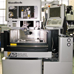 Sodick AD325L CNC Wire EDM: 12.5″ x-axis travel by 9.5″ y-axis travel by 8.5″ z-axis travel, wire size of 0.006″ to 0.012″, 15 degree per side taper cutting & 0.1um resolution