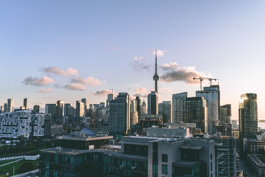 Photo of Toronto skyline with many highrise buildings