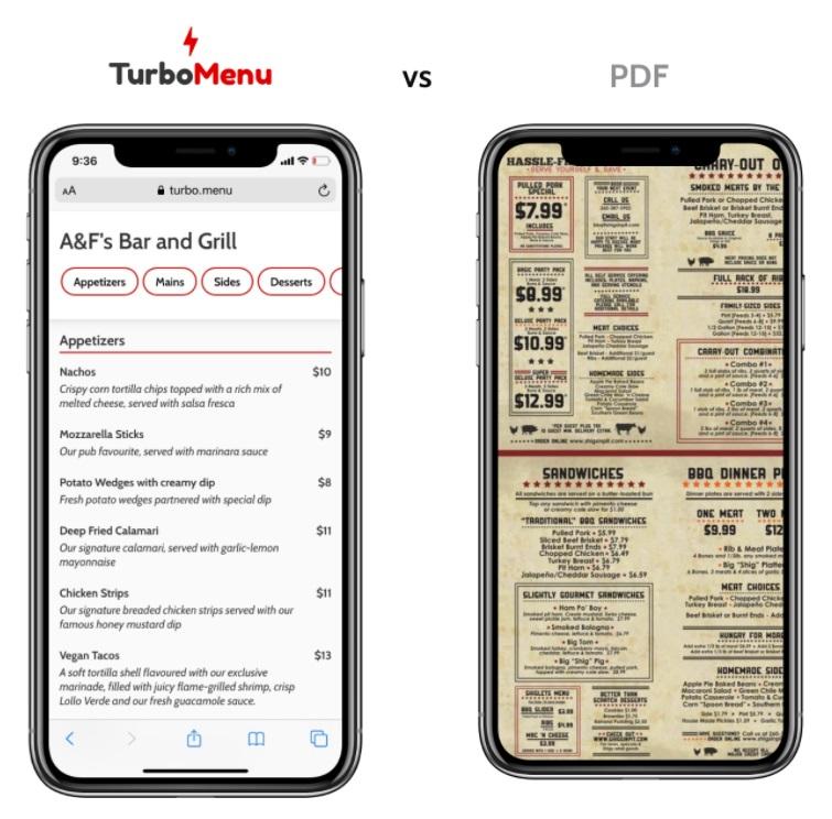 Comparison between a TurboMenu digital menu and uploaded PDF.